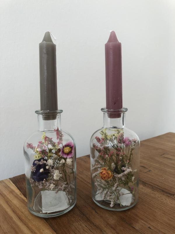 Droogbloemen in glas (klein) met kaars