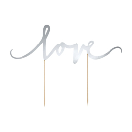 Partydeco cake topper love zilver