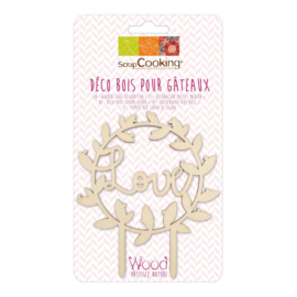 Scrapcooking cake topper wood Love