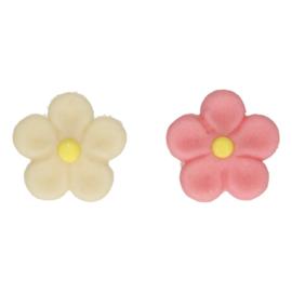 Funcakes marsepein decoratie margriet wit/roze set/12