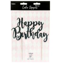 Partydeco cake topper happy birthday zwart