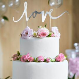 Partydeco cake topper love zilver
