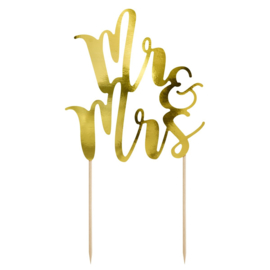 Partydeco cake topper mr&mrs goud