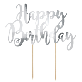 Partydeco cake topper happy birthday zilver