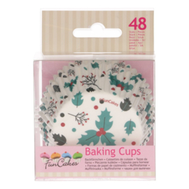 Funcakes baking cups holly leaf pk/48