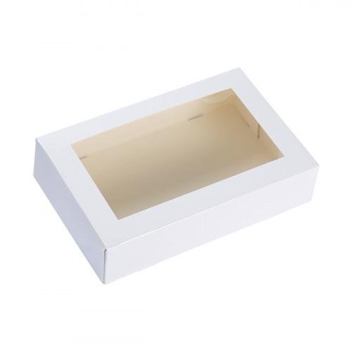 Taartdoos met venster 19X12.5X4.5cm Alaska Wit (uit 1 stuk)
