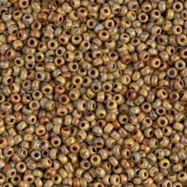 Miyuki rocailles 11/0 4517 Opaque Brown Picasso (10 gram)