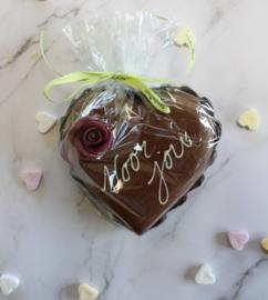 Luxe chocolade hart met tekst