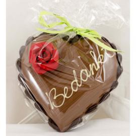 Chocolade hart met tekst (bedankt)