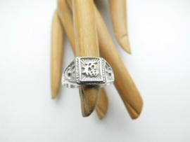 "Zilveren chinees karakter ""geluk"" ring."