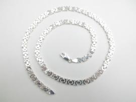 Zilveren platte koningsketting. (55 cm)