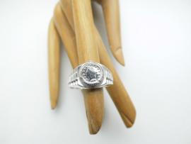 Zilveren muntje horloge ring.