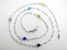 Zilveren regenboog kleuren kralen singapore ketting. (60 cm)