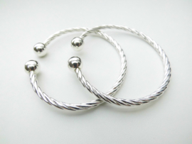 Zilveren boei armband. (draai scheen)