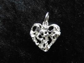 Zilveren piet-piet hart hanger.