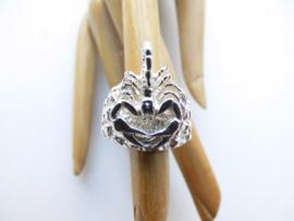 Zilveren schorpioen op piet-piet ring.