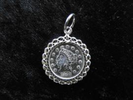 Zilveren munt hanger.