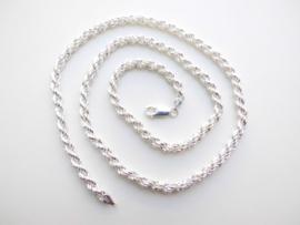 Zilveren koord Ketting. (medium)