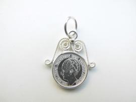 Zilveren Wilhelmina kwartje hanger.