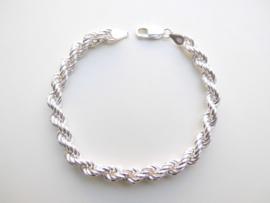 Zilveren koord bracelet. (dikker)
