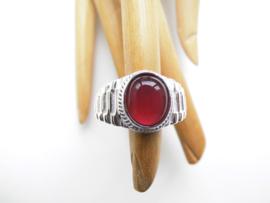 Zilveren rode steen roleks cachet ring.