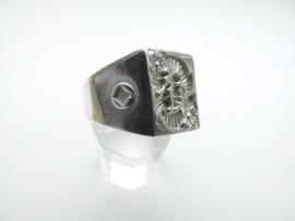 "Zilveren chinees karakter ""rijkdom"" ring."