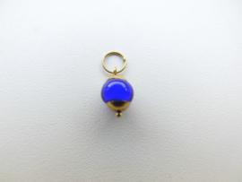 Gouden blauw ingi boca kraal baby hanger. (klein)