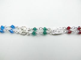 Zilveren roos piet-piet gekleurde kralen bracelet.