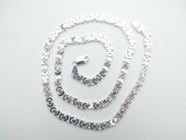 Zilveren platte koningsketting. (50 cm)