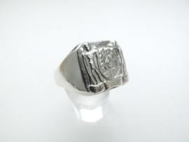 Zilveren surinaamse wapen ring.