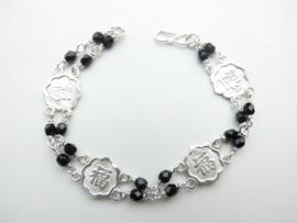 """Zilveren chinees karakter """"geluk"""" zwarte kralen bracelet."""