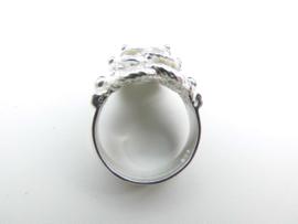 Zilveren 3 mattenkloppers ring.