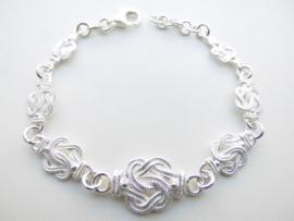 Zilveren mattenkloppers bracelet (groot naar klein)
