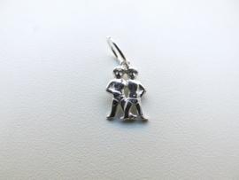 Zilveren tweeling sterrenbeeld hangertje.