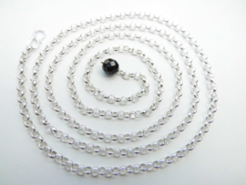 Zilveren lontai buik ketting met zwarte kraal aan uiteinde.