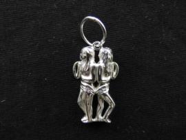 Zilveren sterrenbeeld tweeling hanger.