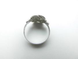 Zilveren dubbel mattenklopper ring.