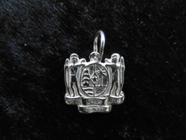 Zilveren wapen van Suriname hanger.