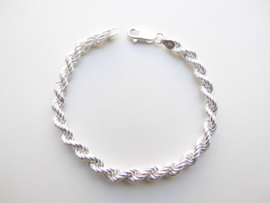 Zilveren koord bracelet. (dunner)