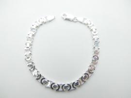 Zilveren platte konings bracelet. (medium)