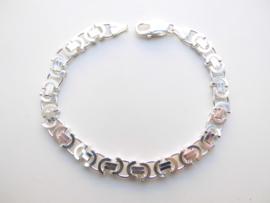 Zilveren platte konings bracelet. (dikker)