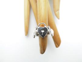 Zilveren slot met duifjes ring.
