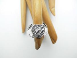 Zilveren nachtegaal ring.