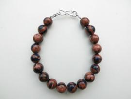 Blauw/bruine goudsteen kralen bracelet met zilveren sluiting.