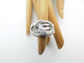 Zilveren slangen ring.