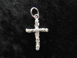 Zilveren rozen-kruis hanger.