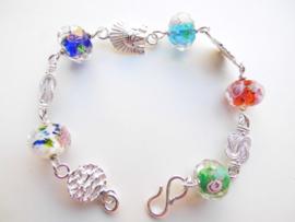 Zilveren piet-piet/mattenklopper/indiaan facet kralen bracelet.