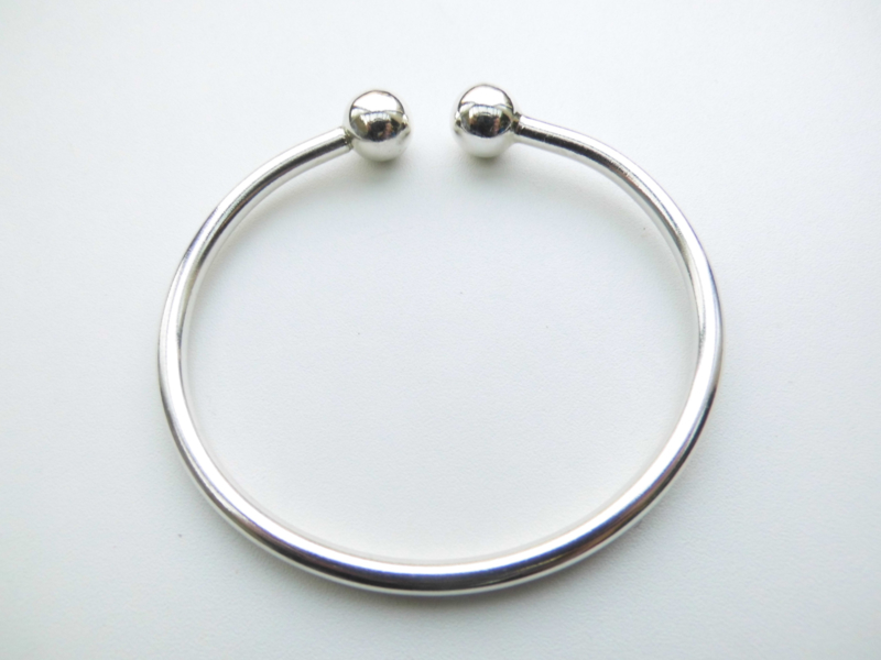 Zilveren boei armband. (massief)