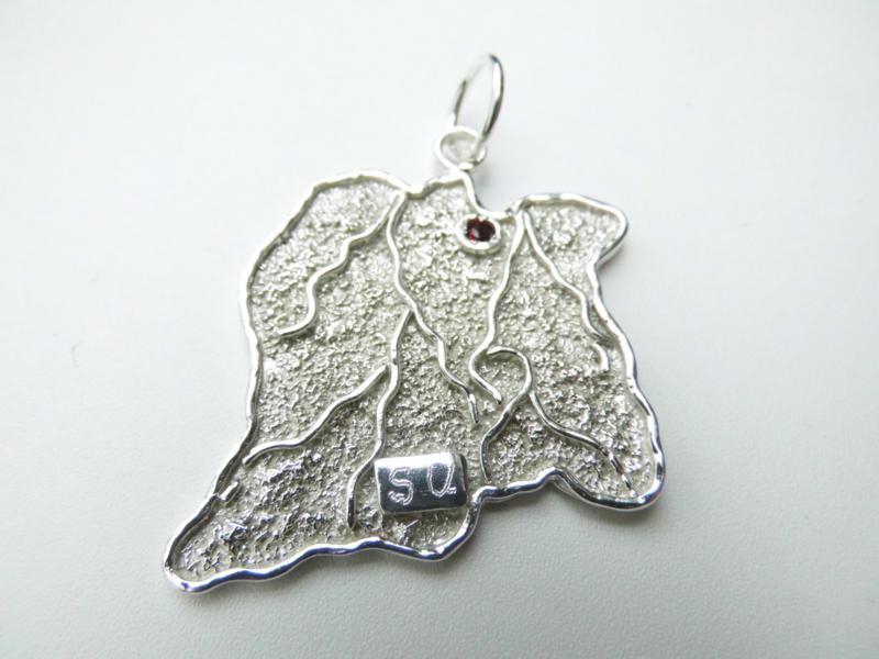 Zilveren suriname landkaart hanger.