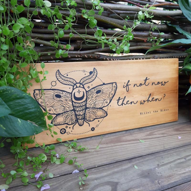 houten bord met inspirational quote